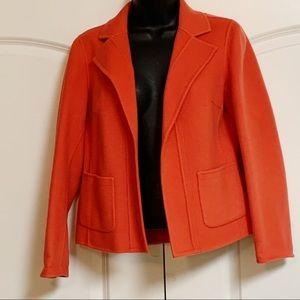Talbots Wool Orange Open Front Swing 0